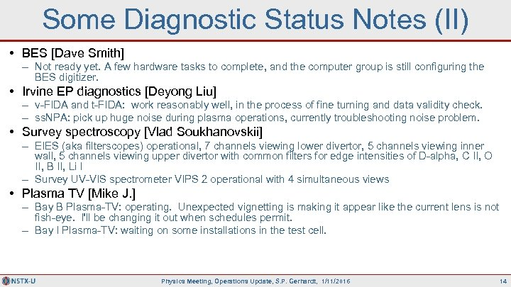 Some Diagnostic Status Notes (II) • BES [Dave Smith] – Not ready yet. A