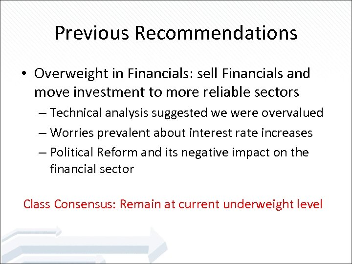 Previous Recommendations • Overweight in Financials: sell Financials and move investment to more reliable