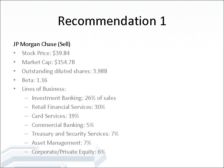 Recommendation 1 JP Morgan Chase (Sell) • Stock Price: $39. 84 • Market Cap: