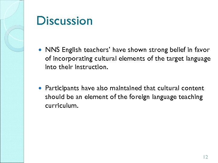 Discussion NNS English teachers' have shown strong belief in favor of incorporating cultural elements