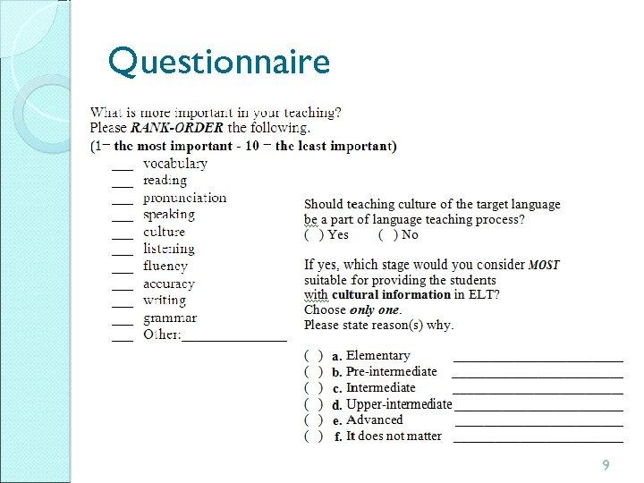 Questionnaire 9