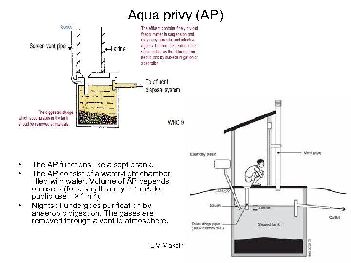 Aqua privy (AP) • • • The AP functions like a septic tank. The