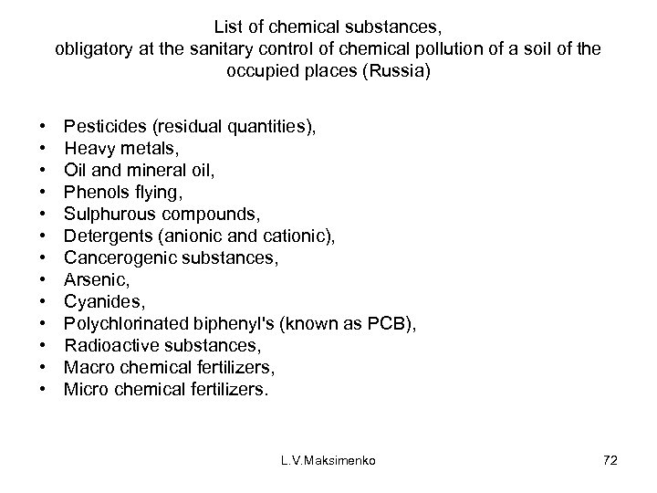 List of chemical substances, obligatory at the sanitary control of chemical pollution of a