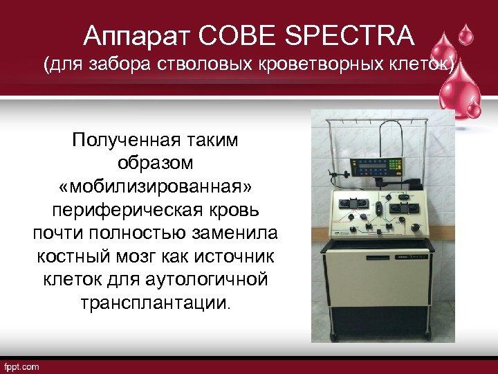 Аппарат COBE SPECTRA (для забора стволовых кроветворных клеток) Полученная таким образом «мобилизированная» периферическая кровь
