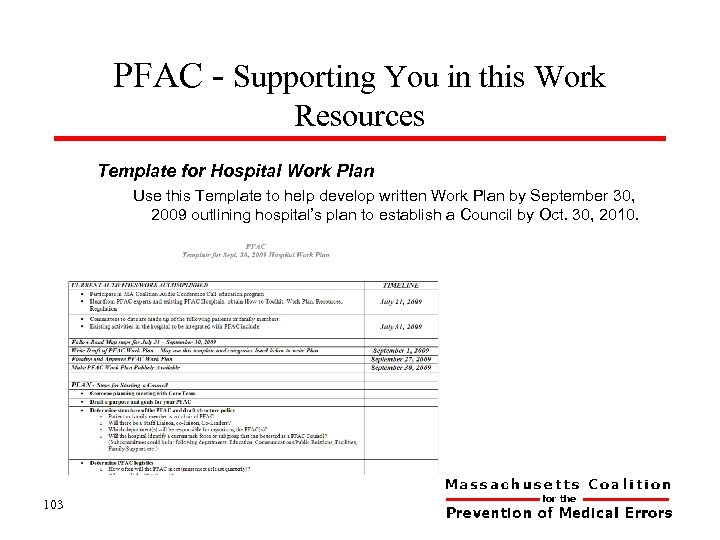 PFAC - Supporting You in this Work Resources Template for Hospital Work Plan Use