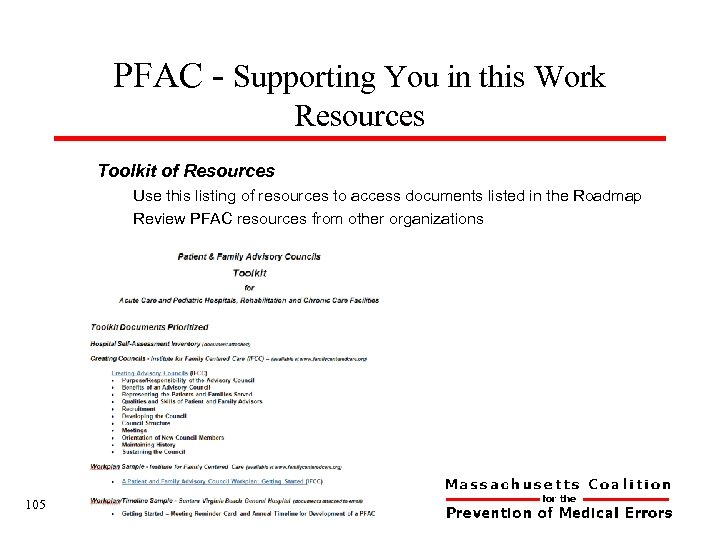 PFAC - Supporting You in this Work Resources Toolkit of Resources Use this listing