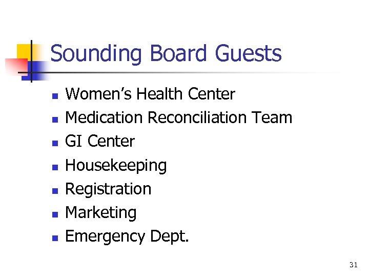 Sounding Board Guests n n n n Women's Health Center Medication Reconciliation Team GI