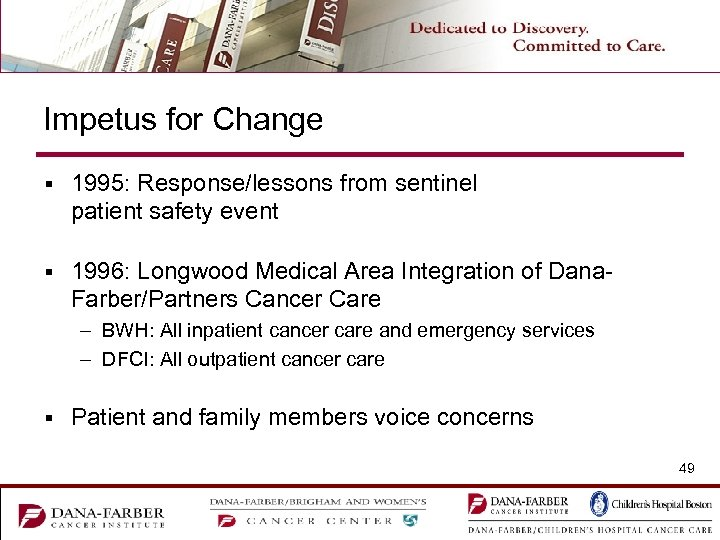 Impetus for Change § 1995: Response/lessons from sentinel patient safety event § 1996: Longwood