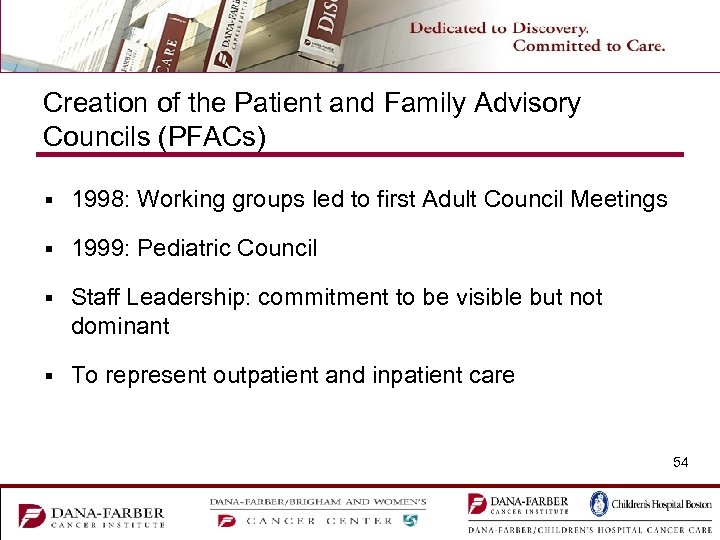 Creation of the Patient and Family Advisory Councils (PFACs) § 1998: Working groups led