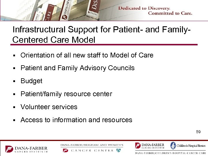 Infrastructural Support for Patient- and Family. Centered Care Model § Orientation of all new