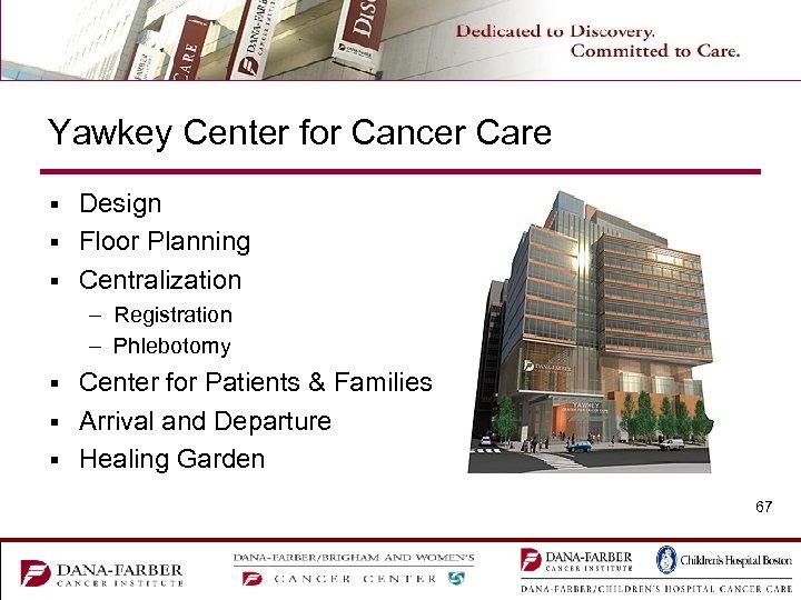 Yawkey Center for Cancer Care Design § Floor Planning § Centralization § – Registration