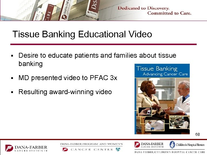 Tissue Banking Educational Video § Desire to educate patients and families about tissue banking