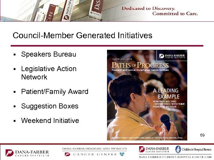 Council-Member Generated Initiatives § Speakers Bureau § Legislative Action Network § Patient/Family Award §