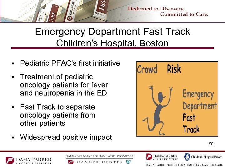 Emergency Department Fast Track Children's Hospital, Boston § Pediatric PFAC's first initiative § Treatment