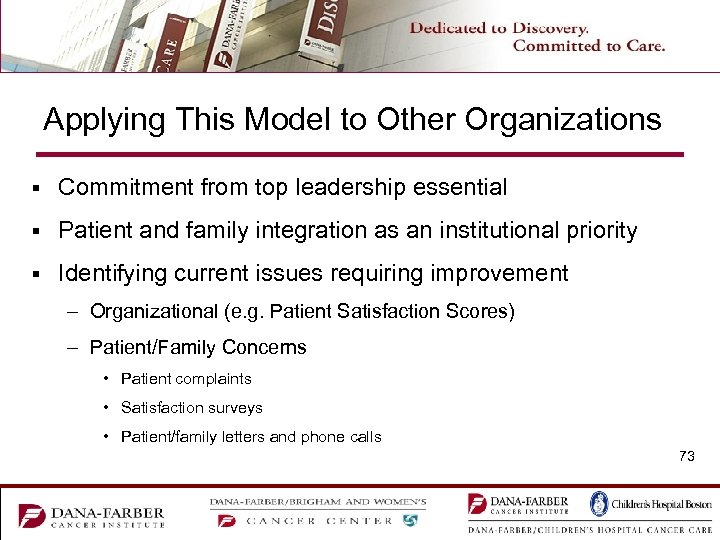 Applying This Model to Other Organizations § Commitment from top leadership essential § Patient