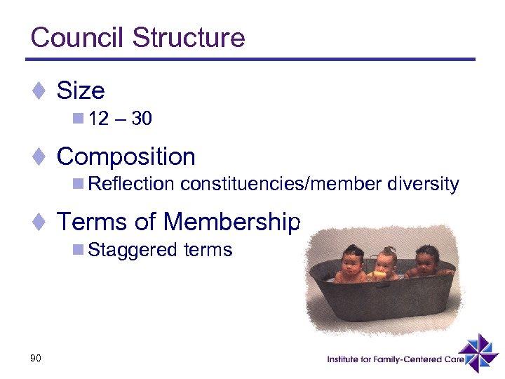 Council Structure t Size n 12 – 30 t Composition n Reflection constituencies/member diversity