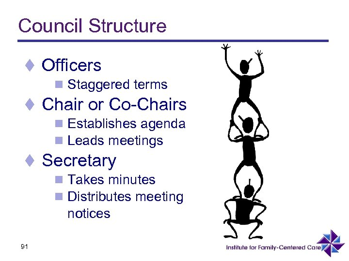 Council Structure t Officers n Staggered terms t Chair or Co-Chairs n Establishes agenda