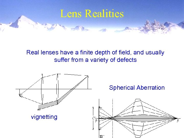 Lens Realities Real lenses have a finite depth of field, and usually suffer from