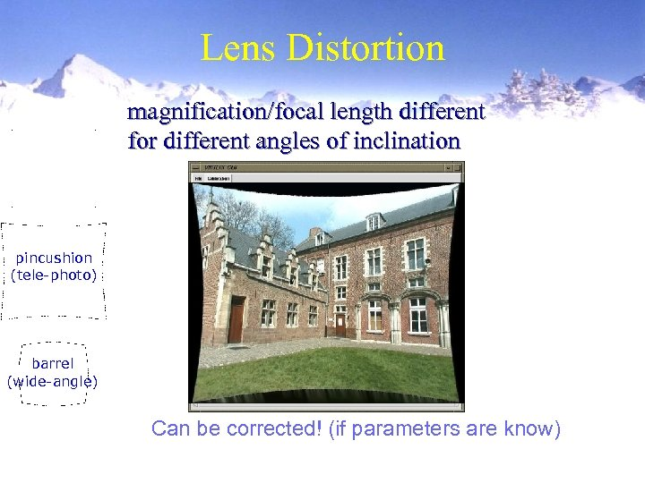 Lens Distortion magnification/focal length different for different angles of inclination pincushion (tele-photo) barrel (wide-angle)
