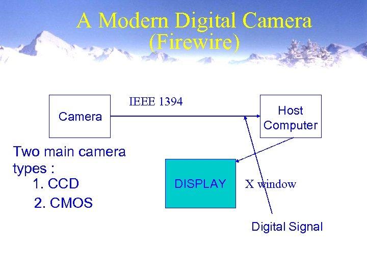 A Modern Digital Camera (Firewire) IEEE 1394 Camera Two main camera types : 1.