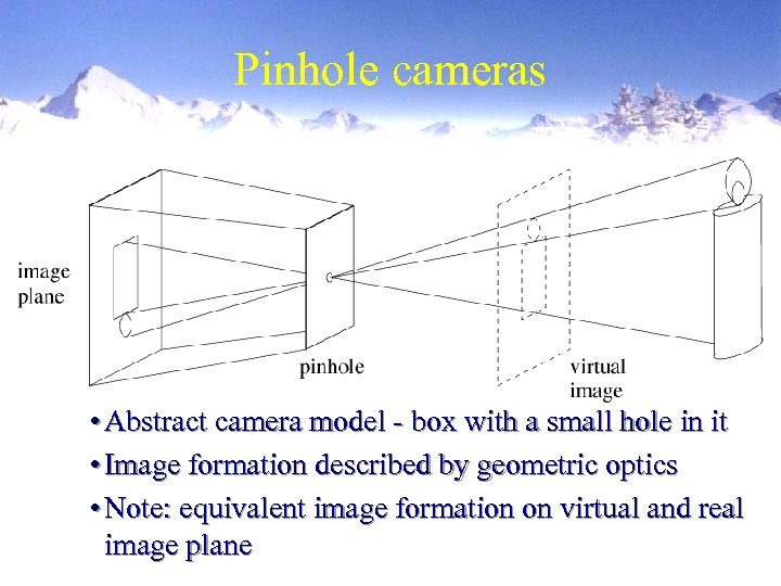 Pinhole cameras • Abstract camera model - box with a small hole in it