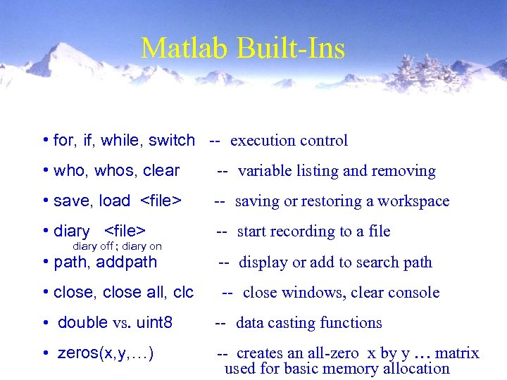 Matlab Built-Ins • for, if, while, switch -- execution control • who, whos, clear