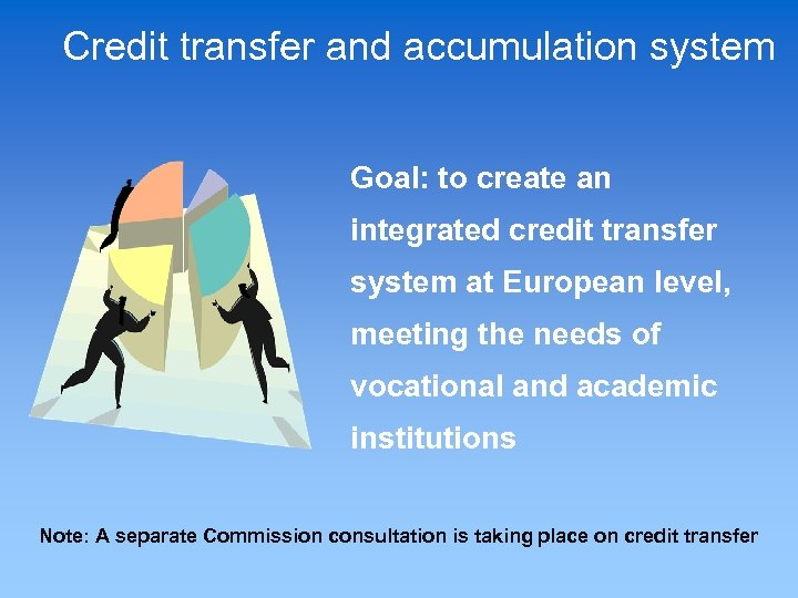 Credit transfer and accumulation system Goal: to create an integrated credit transfer system at