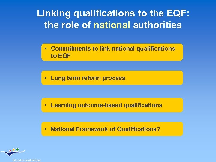 Linking qualifications to the EQF: the role of national authorities • Commitments to link