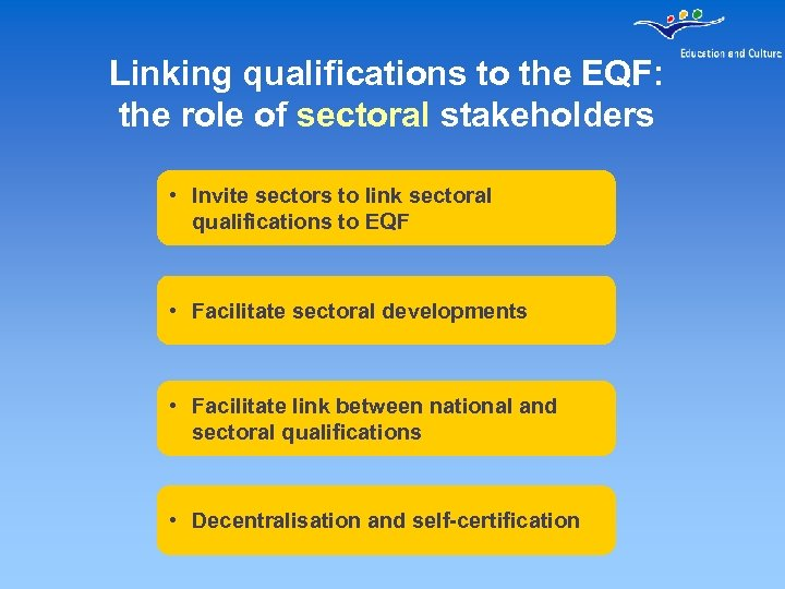 Linking qualifications to the EQF: the role of sectoral stakeholders • Invite sectors to