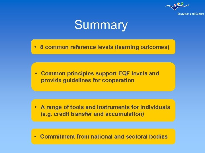 Summary • 8 common reference levels (learning outcomes) • Common principles support EQF levels