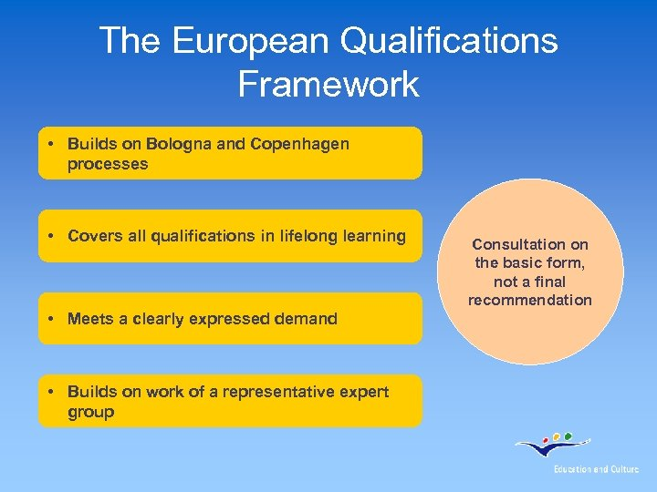 The European Qualifications Framework • Builds on Bologna and Copenhagen processes • Covers all
