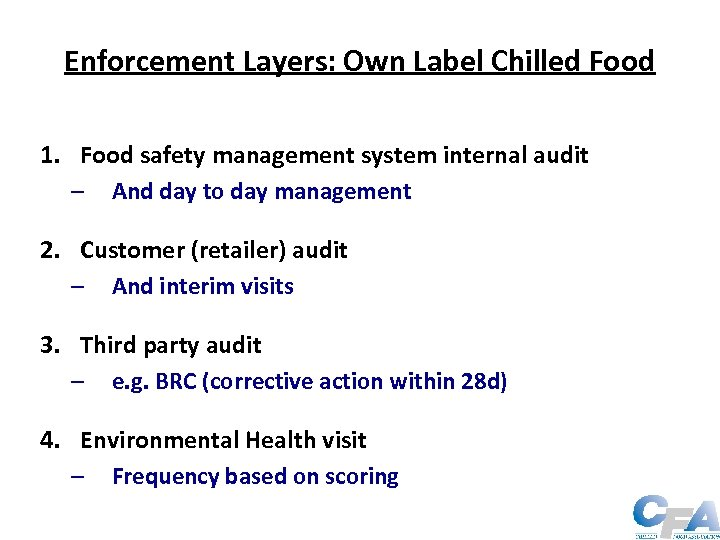 Enforcement Layers: Own Label Chilled Food 1. Food safety management system internal audit –