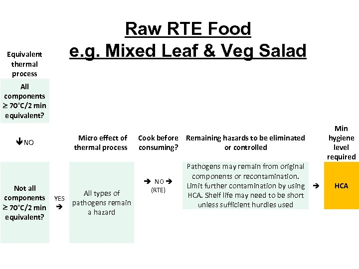 Equivalent thermal process Raw RTE Food e. g. Mixed Leaf & Veg Salad All