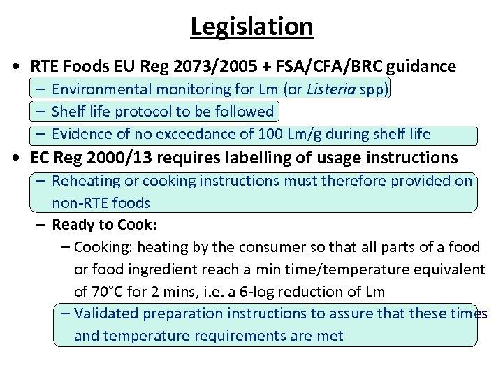 Legislation • RTE Foods EU Reg 2073/2005 + FSA/CFA/BRC guidance – Environmental monitoring for