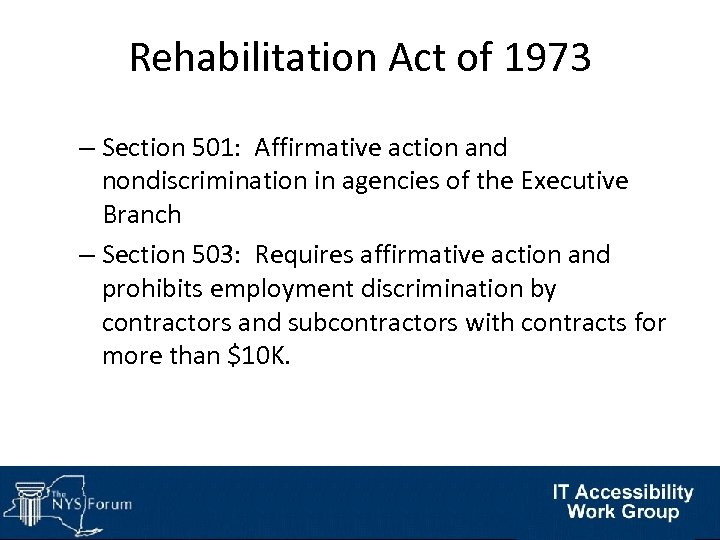 Rehabilitation Act of 1973 – Section 501: Affirmative action and nondiscrimination in agencies of