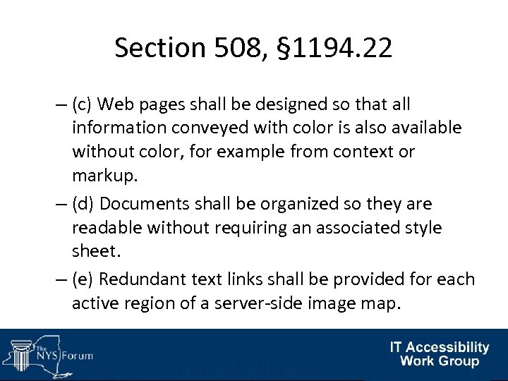 Section 508, § 1194. 22 – (c) Web pages shall be designed so that