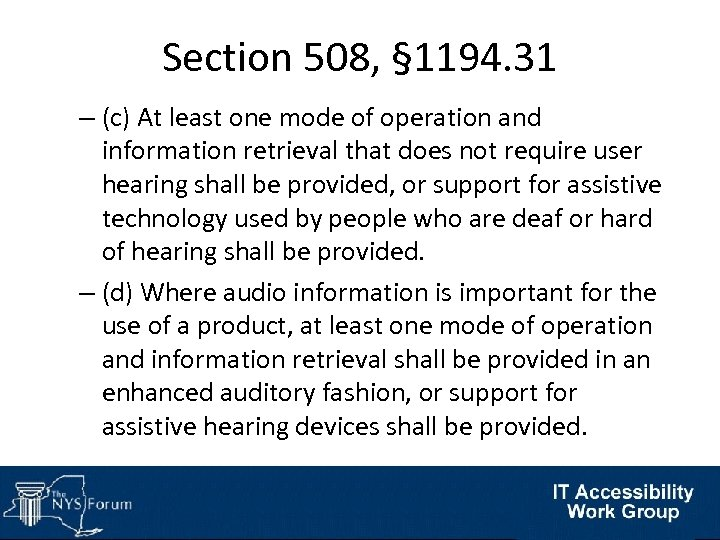 Section 508, § 1194. 31 – (c) At least one mode of operation and
