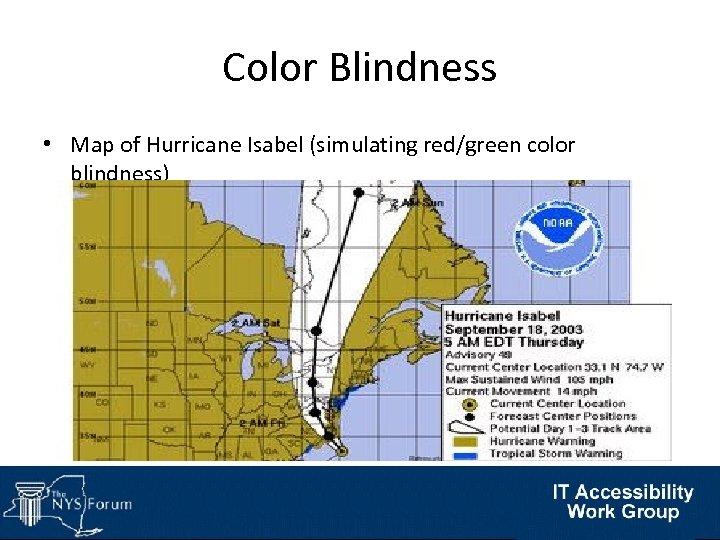 Color Blindness • Map of Hurricane Isabel (simulating red/green color blindness)