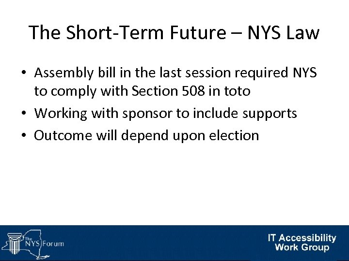 The Short-Term Future – NYS Law • Assembly bill in the last session required
