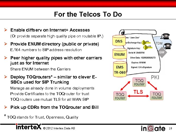 For the Telcos To Do Ø Enable diffserv on Internet+ Accesses (Or provide separate