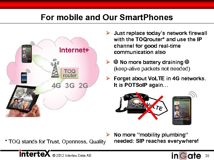 For mobile and Our Smart. Phones Internet+ Ø Just replace today's network firewall with