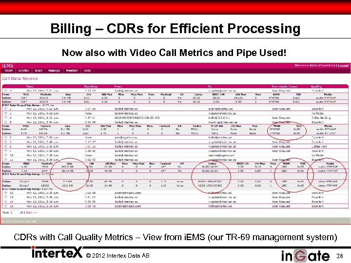 Billing – CDRs for Efficient Processing Now also with Video Call Metrics and Pipe