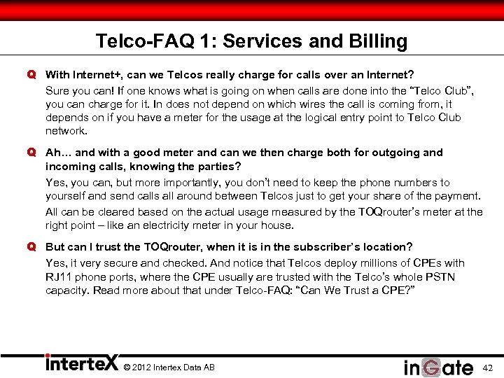 Telco-FAQ 1: Services and Billing Q With Internet+, can we Telcos really charge for