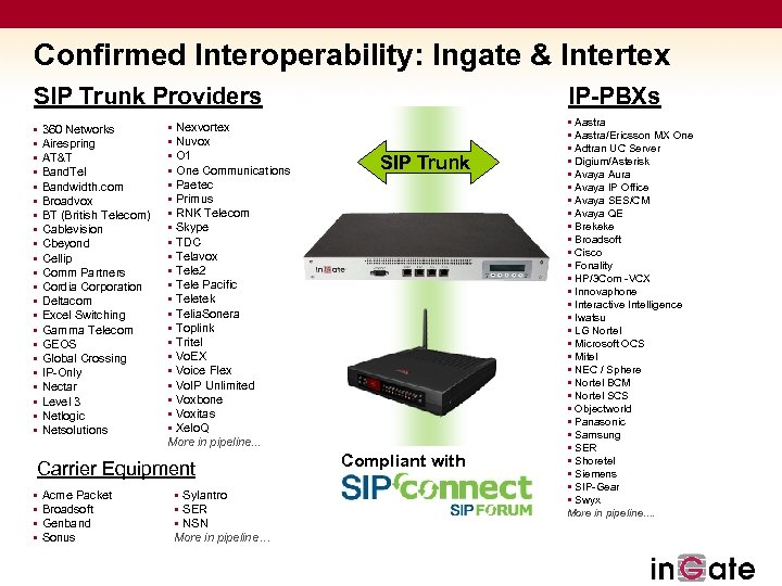 Confirmed Interoperability: Ingate & Intertex SIP Trunk Providers § 360 Networks § Airespring §