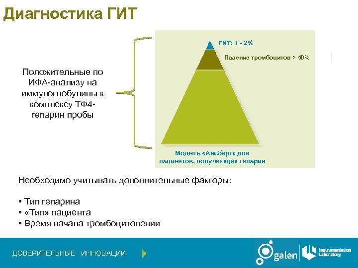 Диагностика ГИТ: 1 - 2% Падение тромбоцитов > 50% Положительные по ИФА-анализу на иммуноглобулины