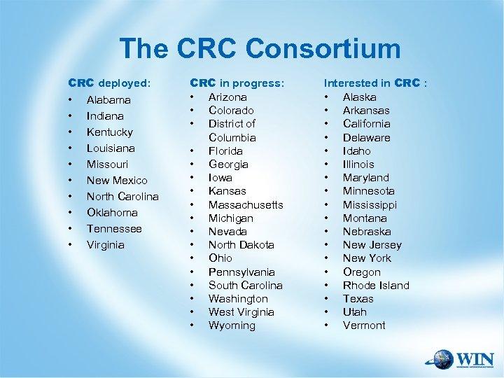 The CRC Consortium CRC deployed: • Alabama • Indiana • Kentucky • Louisiana •