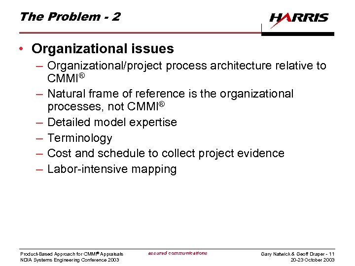 The Problem - 2 • Organizational issues – Organizational/project process architecture relative to CMMI®