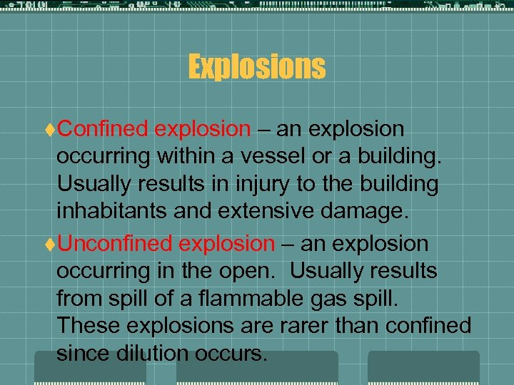 Explosions t. Confined explosion – an explosion occurring within a vessel or a building.