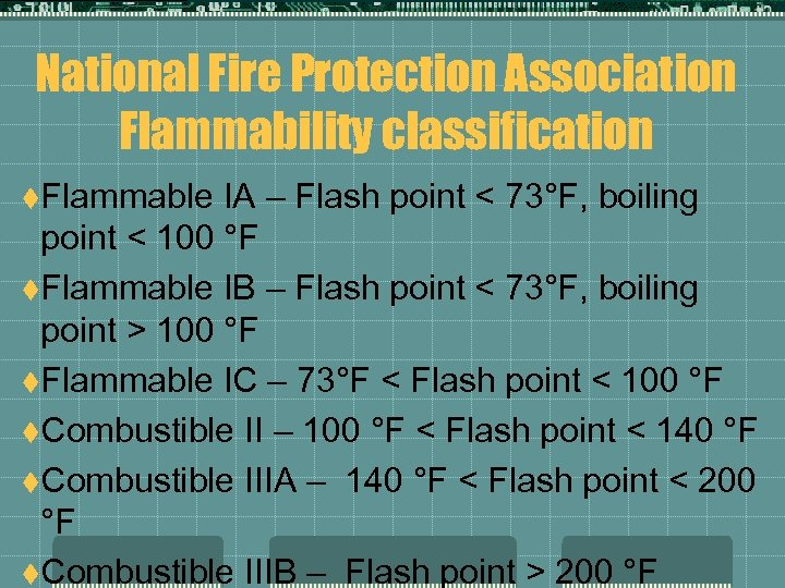 National Fire Protection Association Flammability classification t. Flammable IA – Flash point < 73°F,