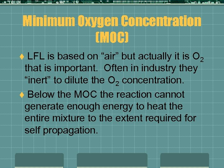 """Minimum Oxygen Concentration (MOC) LFL is based on """"air"""" but actually it is O"""